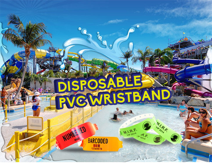 Waterproof Disposable PVC Wristband for Amusement Park