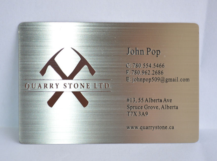 Brushed Stainless Steel Silver Card